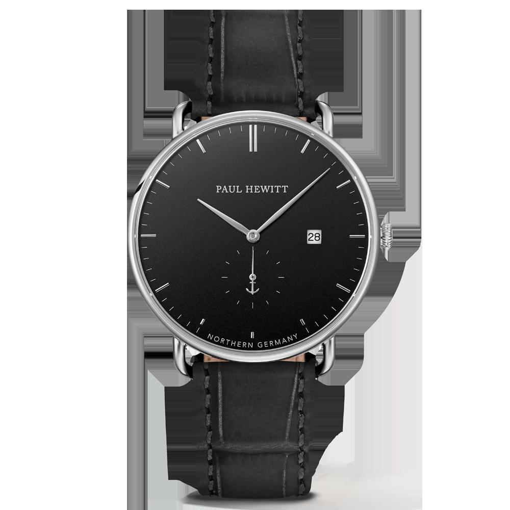 Watch Grand Atlantic Line Black Sea Stainless Steel Leather Watchstrap Embossed Black