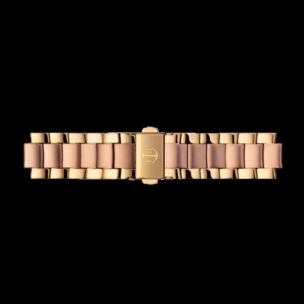 Uhrenarmband Metall Bicolor Roségold Gold 16 mm