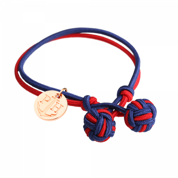 Bracelet Nœud Or Rose Nylon Bleu Marine Rouge