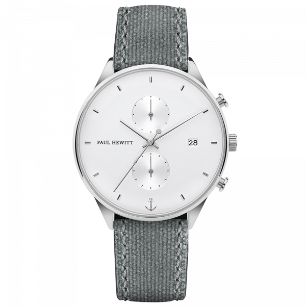 Watch Chrono White Sand Silver Canvas Grey
