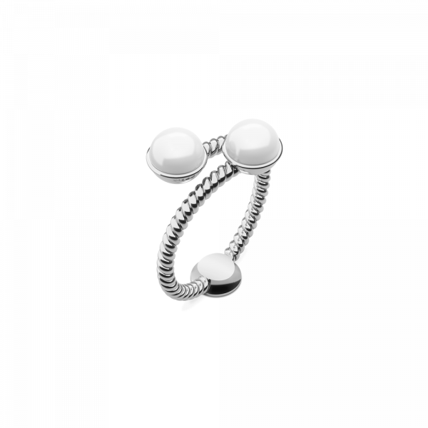 Ring Rope Pearl Silber