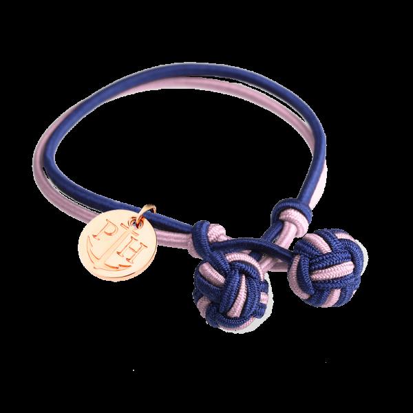 Knotenarmband Roségold Nylon Marineblau-Rosa