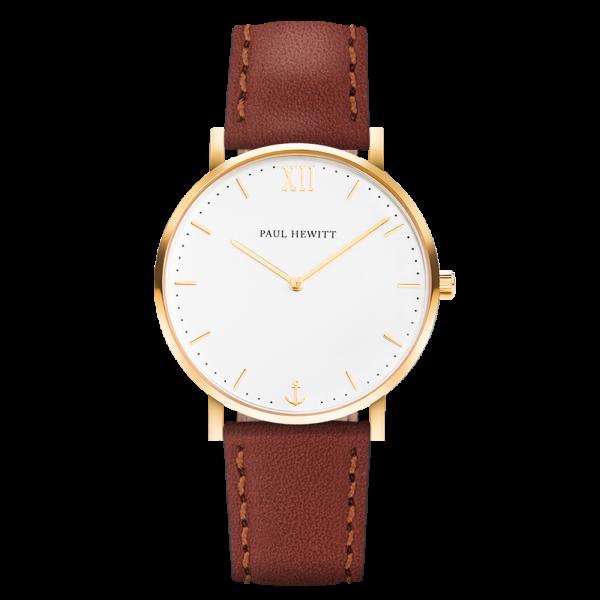 Uhr Sailor Line White Sand IP Gold Lederarmband Braun