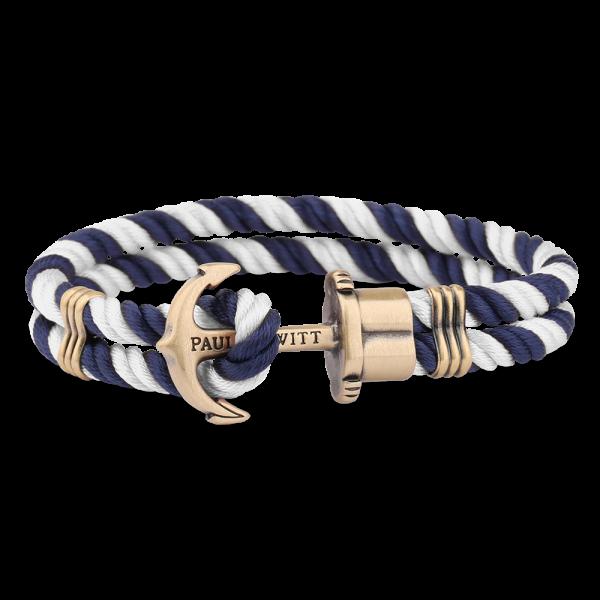 Ankerarmband PHREP Messing Nylon Marineblau-Weiss
