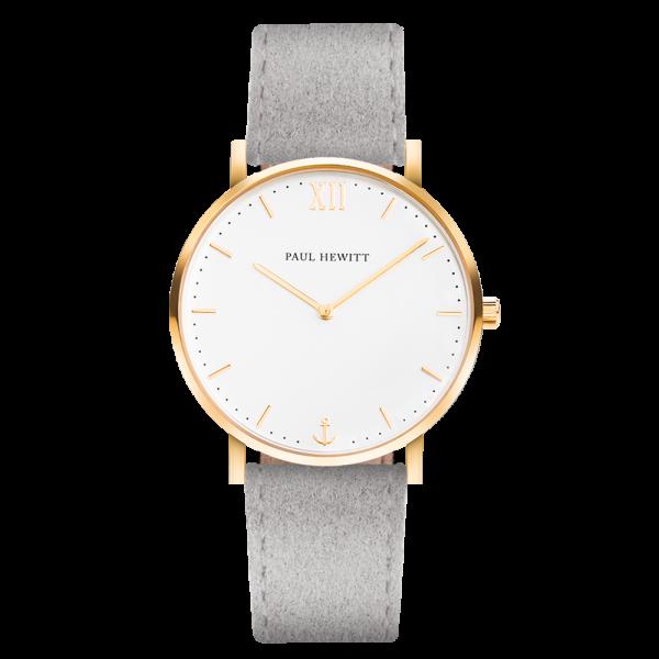 Uhr Sailor Line White Sand IP Gold Alcantara Grau