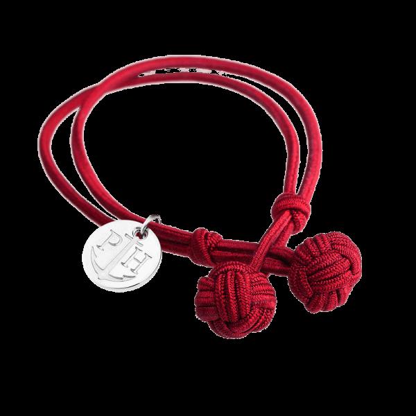 Knotbracelet Silver Nylon Red