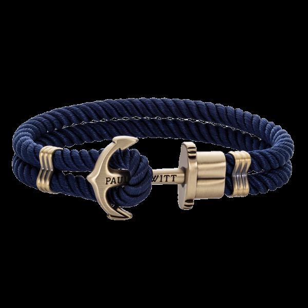 Bracelet Ancre PHREP Laiton Nylon Bleu Marine