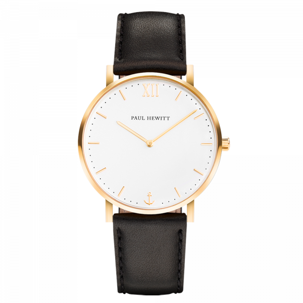 Uhr Sailor Line White Sand IP Gold Lederarmband Schwarz
