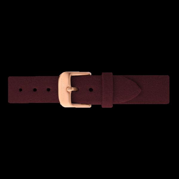 Uhrenarmband IP Roségold Alcantara Dark Berry 16mm