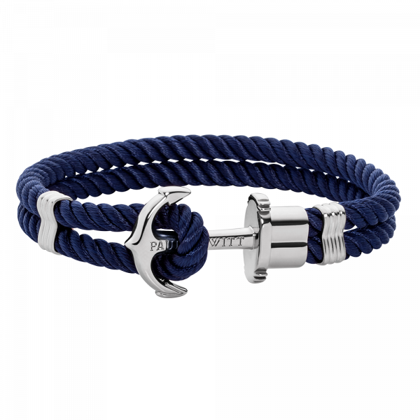 Bracelet Ancre Phrep Argenté Nylon Bleu Marine