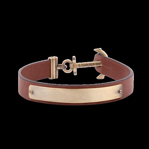 Anchor Bracelet Signum Brass Leather Brown
