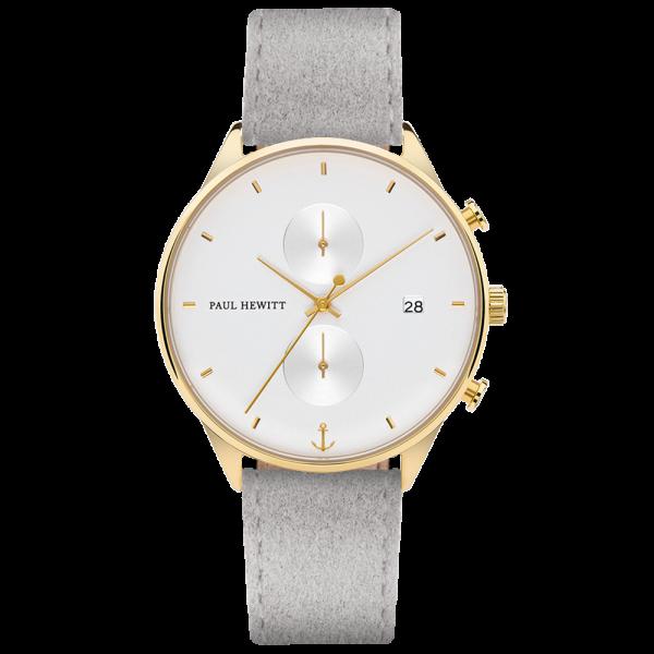 Uhr Chrono White Sand Gold Alcantara Grau