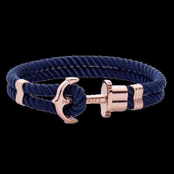 Anchor Bracelet Phrep Rose Gold Nylon Navy Blue