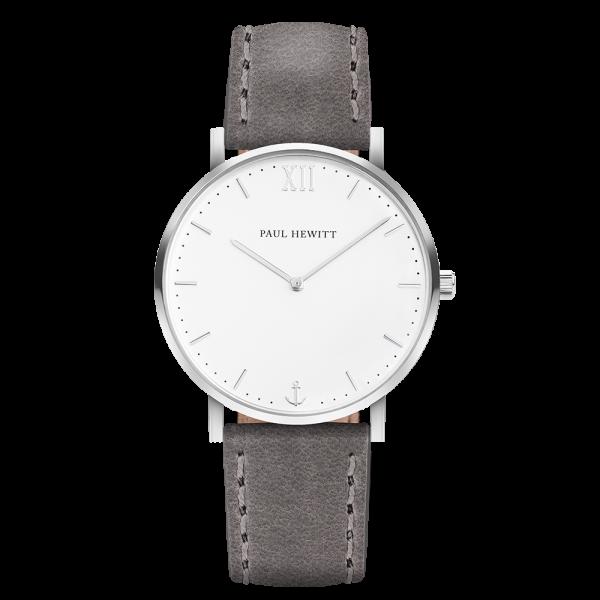 Uhr Sailor White Sand Silber Leder Grau