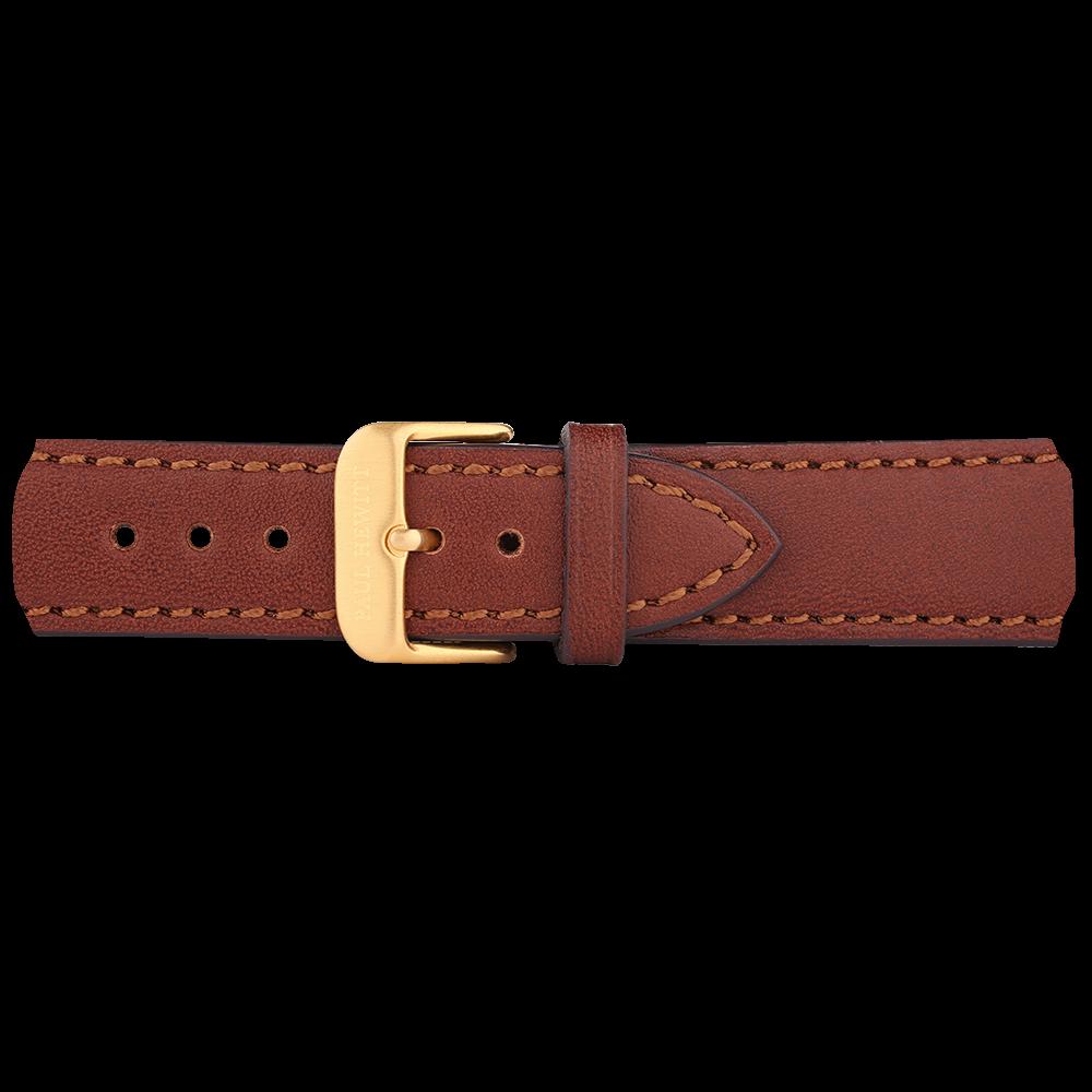 Bracelets de montre ip doré cuir marron 20mm