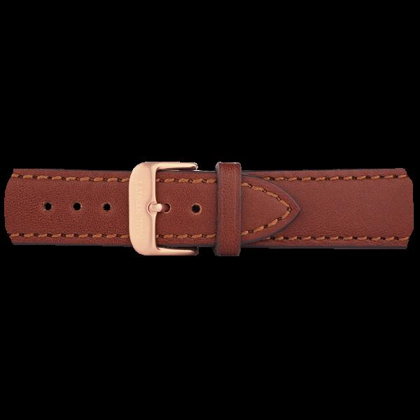 Bracelet de Montre Cuir Or Rose Marron 20 mm