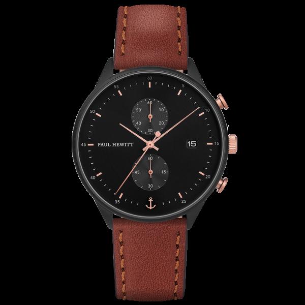 Uhr Chrono Line Black Sunray IP Schwarz/Roségold Lederarmband Braun