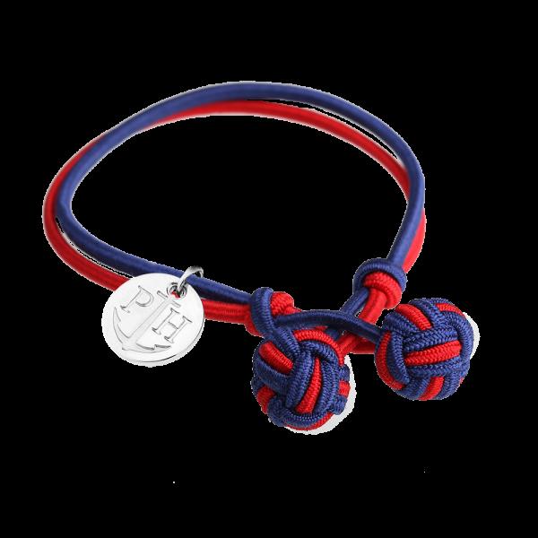 Bracelet Nœud Argenté Nylon Bleu Marine Rouge