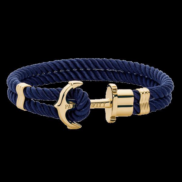 Ankerarmband PHREP IP Gold Nylon Marineblau