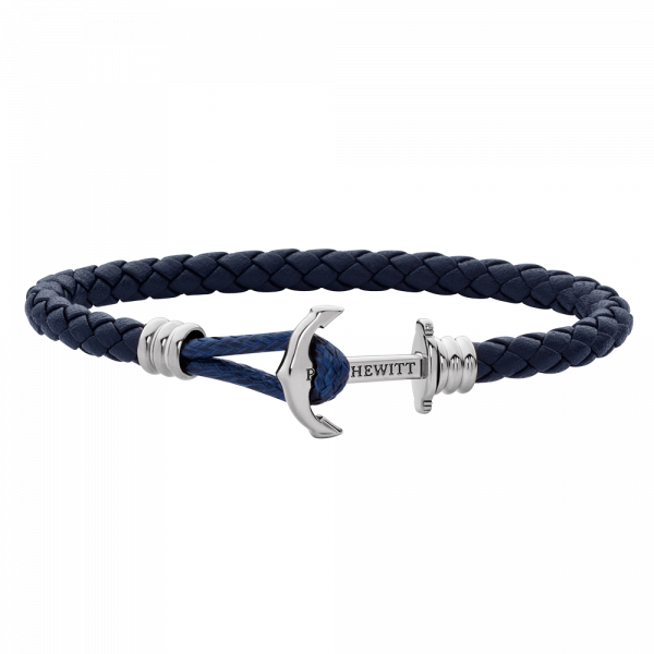 Anchor Bracelet Phrep Lite Silver Leather Navy Blue