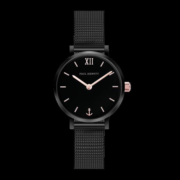 Uhr Modest Black Sunray Schwarz Roségold Mesh Schwarz
