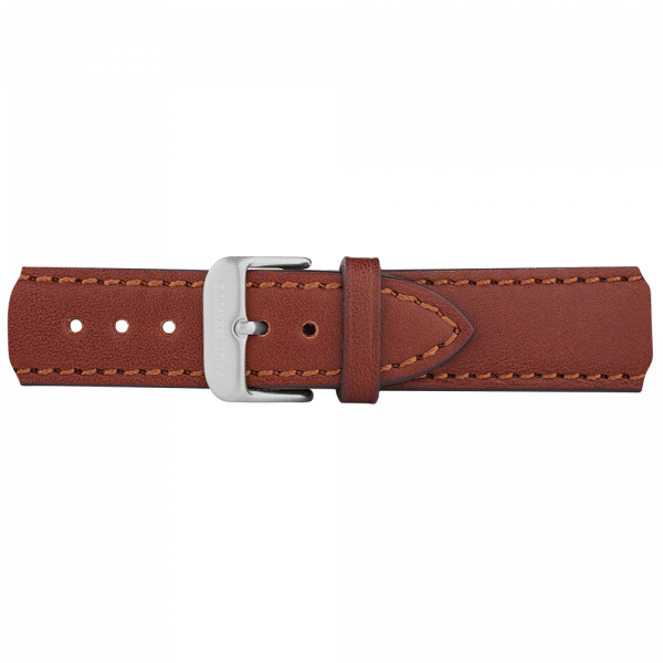 Watch Strap Leather Silver Brown 20 mm