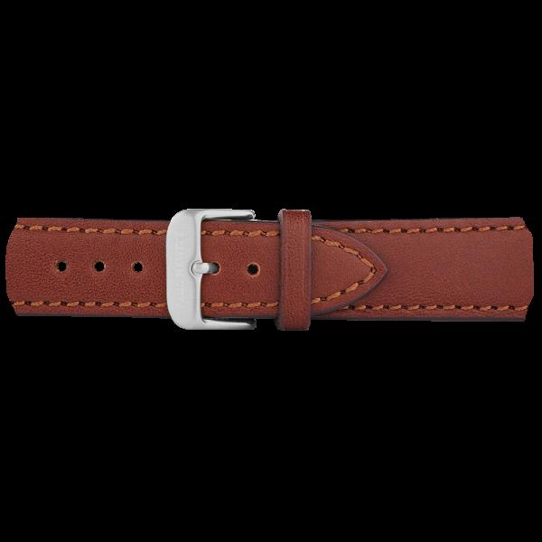Cinturino Pelle Argentato Marrone 20 mm
