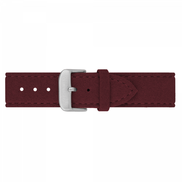 Watch Strap Alcantara Silver Dark Berry 20 mm