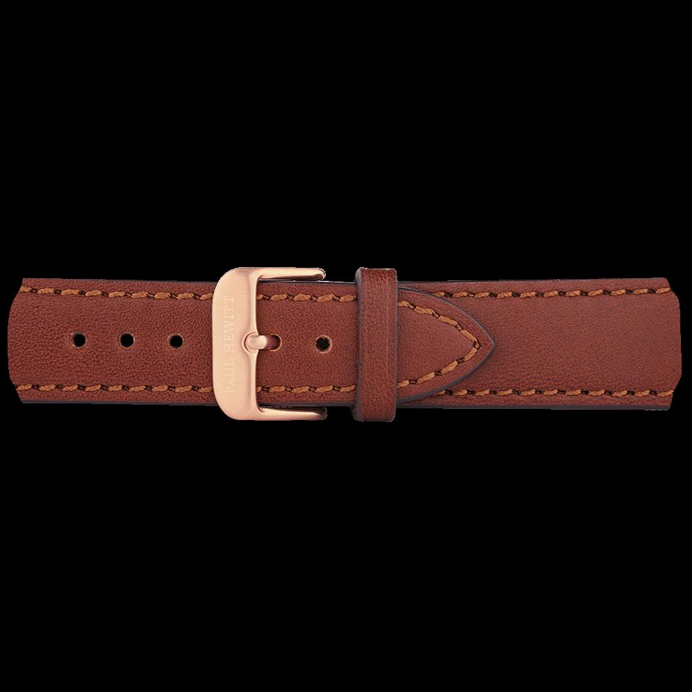 Bracelets de montre ip or rosé cuir marron 20mm