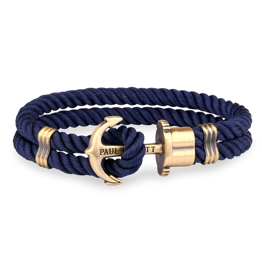anchor pin macrame blue nautical bracelet navy