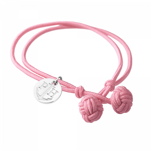 Knotenarmband Silber Nylon Rosa