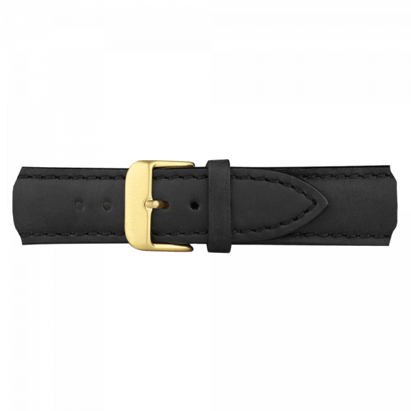 Watch Strap Leather Gold Black 20 mm