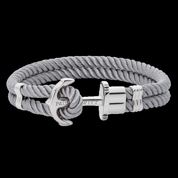 Anchor Bracelet Phrep Silver Nylon Grey