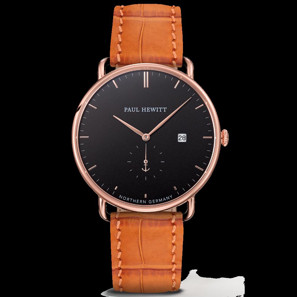 Watch Grand Atlantic Line Black Sea IP Rose Gold Leather Watch Strap Embossed Cognac