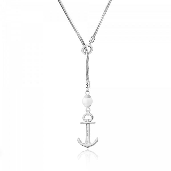 Necklace Anchor Pearl Silver
