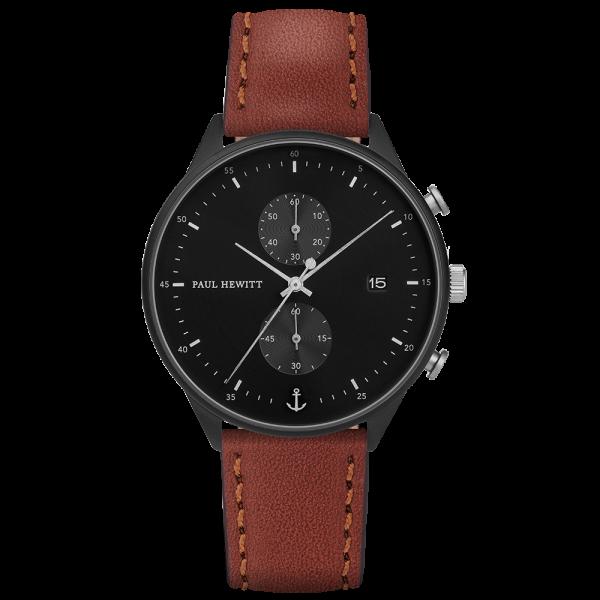 Uhr Chrono Line Black Sunray IP Schwarz/Edelstahl Lederarmband Braun