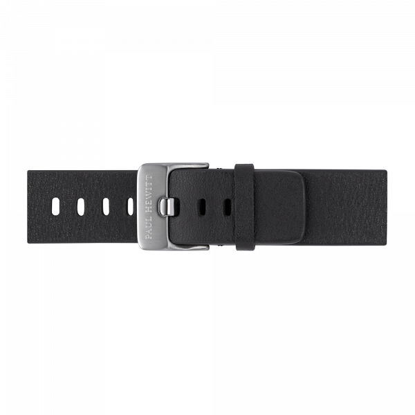 Watch Strap Leather Silver Pure Black 20 mm