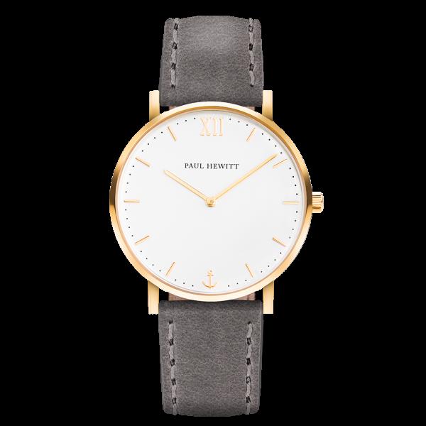 Uhr Sailor Line White Sand IP Gold Lederarmband Grau